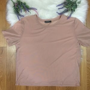 Cotton On Sheer Light Pink/Coral Mesh Boxy T-Shirt